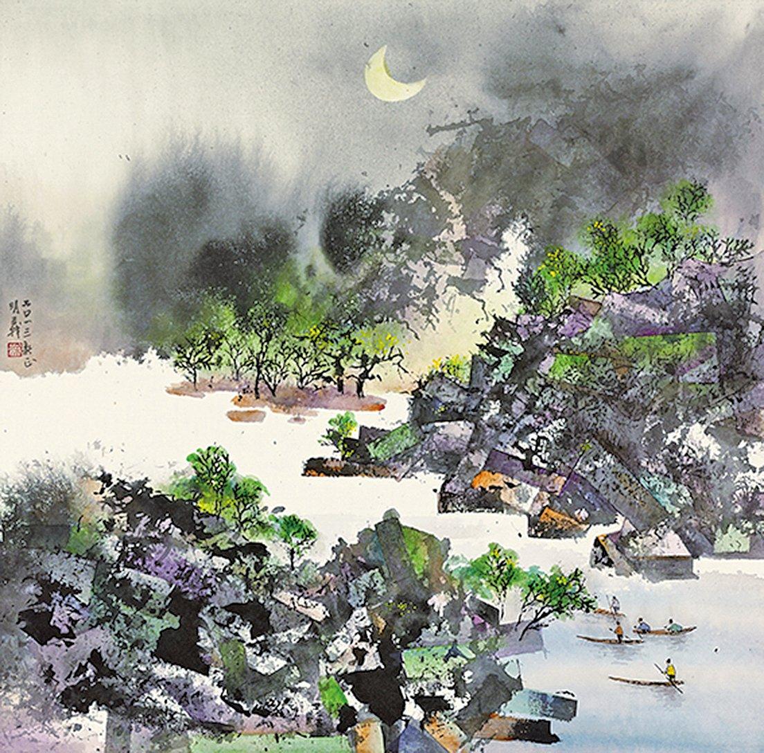 漁歌(彩墨)68×68cm