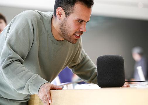 蘋果公司的智能音箱HomePod。(Justin Sullivan/Getty Images)