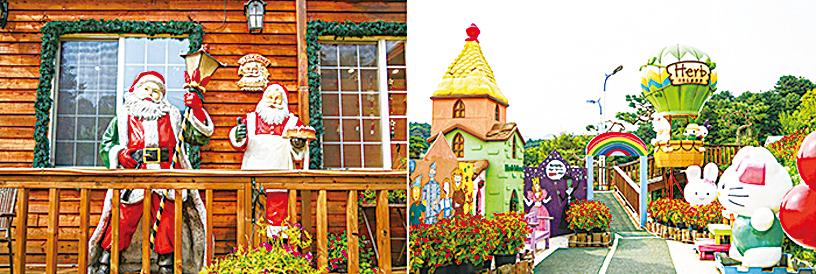 聖誕村的擺設(左圖);卡通人物區(右圖)。