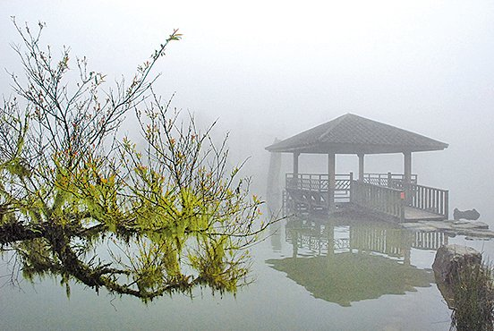 湖中涼亭映襯著湖面如畫如詩