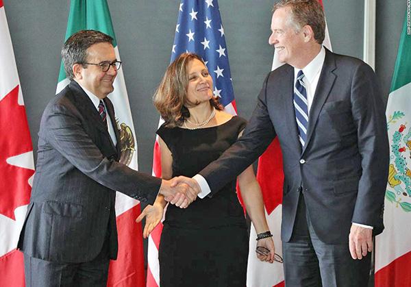 資料圖片,左起為墨西哥經濟部長瓜加多、加拿大外長方蕙蘭以及美國貿易代表萊特希澤。(Getty Images)