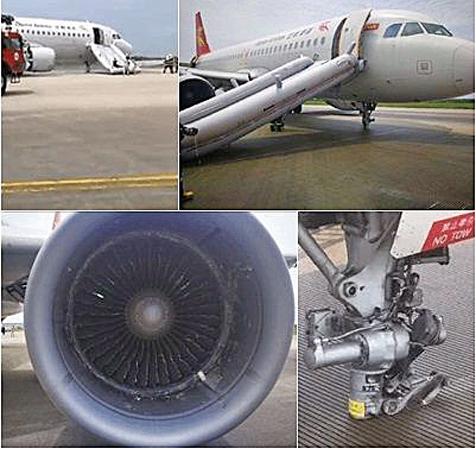 飛機前輪丟失迫降 北京首都航空連爆險情