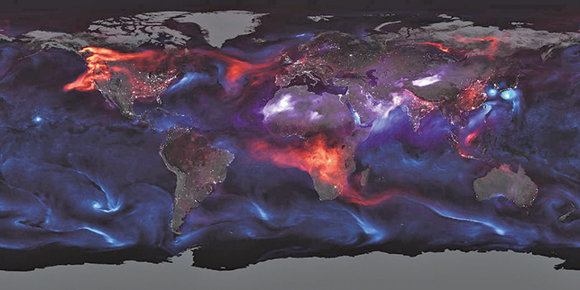 NASA發光地圖揭示地球上空籠罩巨大塵埃雲團。(NASA)