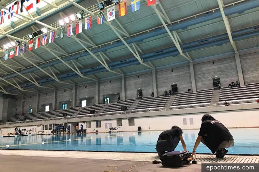 美國海洋先進科技教育中心(MATE)的水底機械人國際賽,科大水底機械人團隊在比賽中。(HKUST Robotics Team Facebook)