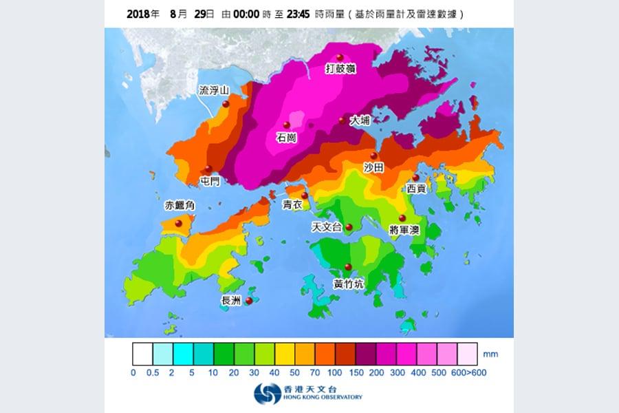 天文台今日在石崗一帶已錄得超過400毫米雨量,上水、打鼓嶺、錦田一帶錄得超過300毫米雨量。(香港天文台)