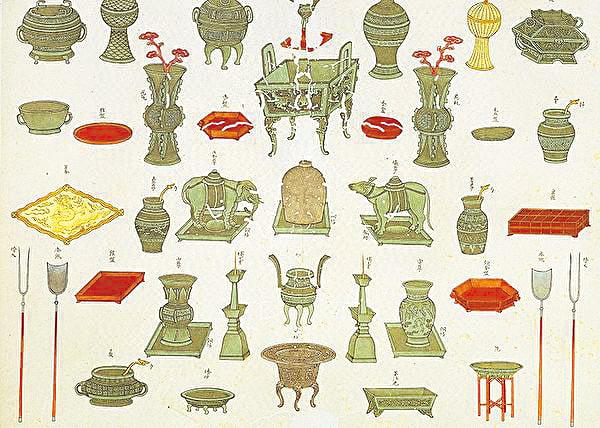 中國古代在祭祀、喪葬以及征伐等禮儀活動中使用的器具為禮器,其使用的規格有嚴格的等級限制,用以表明使用者的地位、身份、權力。圖為清 蔣元樞《重修台郡各建築圖說.孔廟禮器圖》(公有領域)