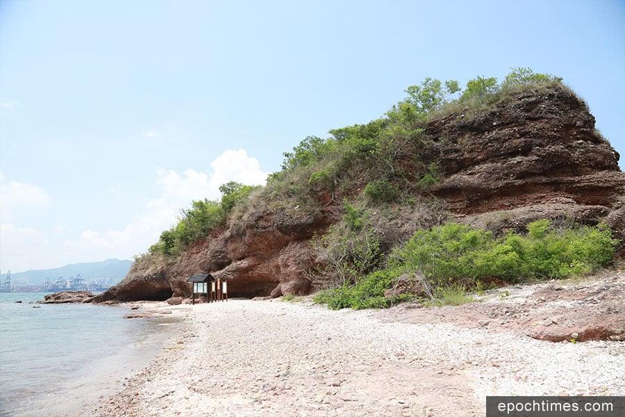 鴨洲擁有本港罕見的褐紅色角礫岩,富有生態導賞價值。圖為鴨頭及鴨頸(右)。(陳仲明/大紀元)