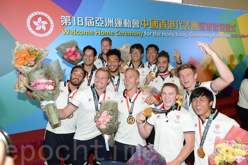 香港男子七人欖球代表隊。(宋碧龍/大紀元)