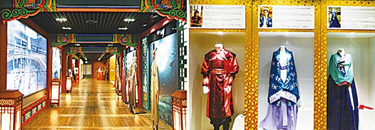 古裝劇體驗區的通道(左圖), 古裝劇體驗區內展示的服裝(右圖)。