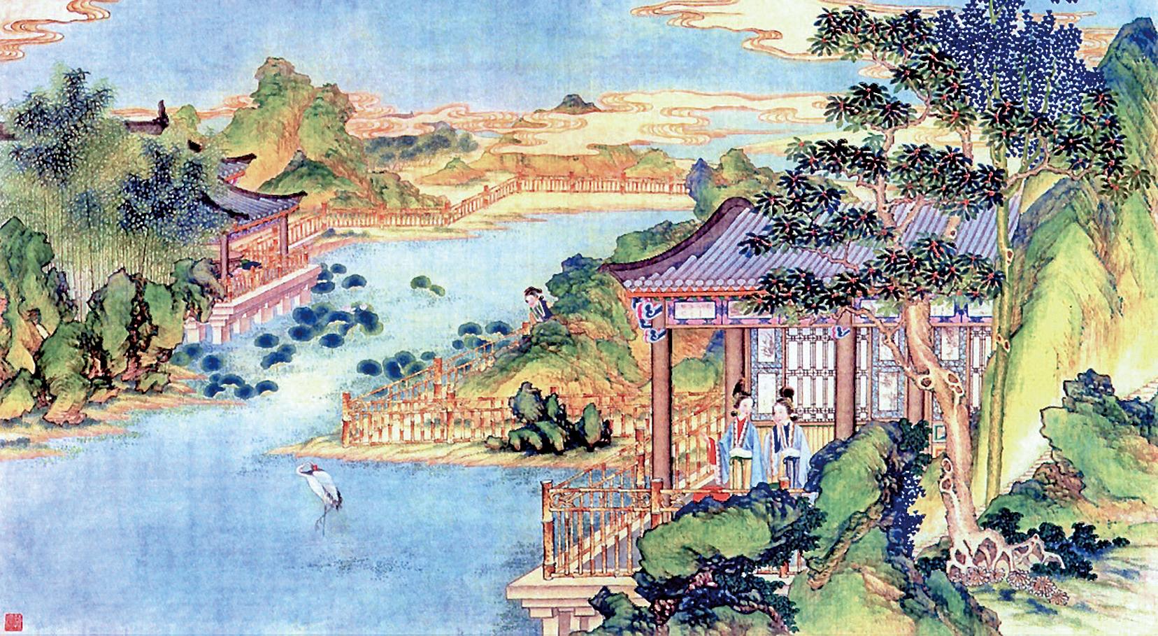 清代孫溫繪製《紅樓夢》之一  凹晶館圖畫(公有領域)