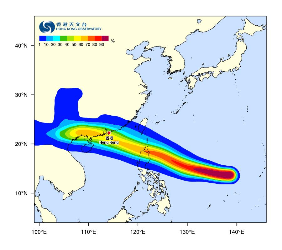 天文台今日更新的熱帶氣旋路徑概率預報顯示,超強颱風山竹正面吹襲本港的概率,目前達到百分之五十至六十。(香港天文台)