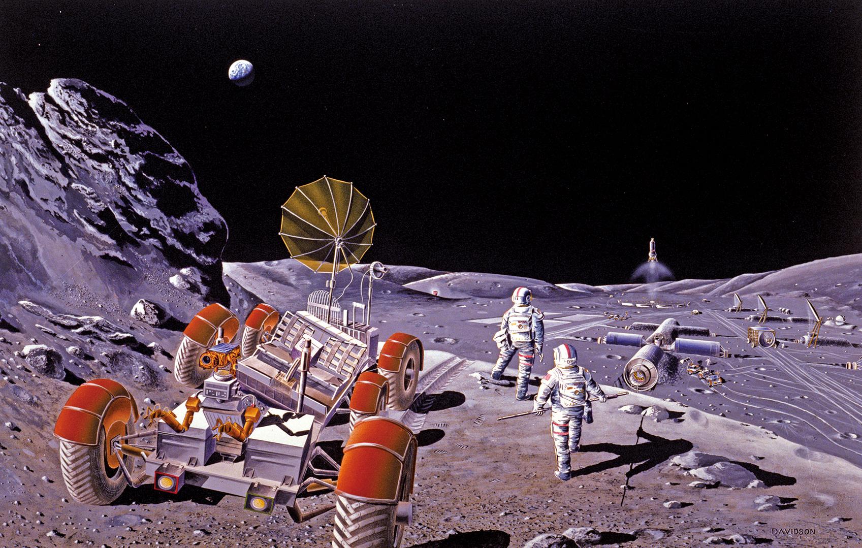 人類在月球表面建立基地的示意圖。(維基百科)