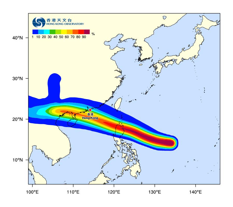 據天文台在今日中午更新的熱帶氣旋路徑概率預報顯示,山竹正面吹襲本港的概率,目前維持在百分之二十至三十之間,比昨天介乎百分之五十至六十之間的概率大幅降低。(香港天文台)