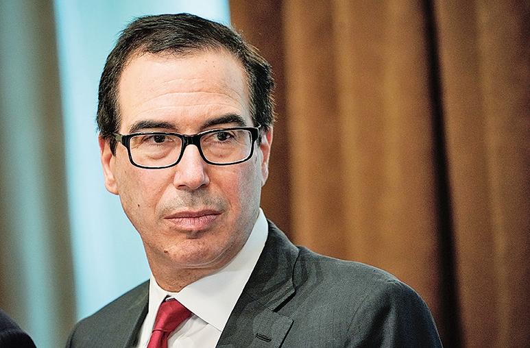 據傳美國財政部長姆欽率領的美方政府高官向中方發出談判邀請。(AFP)