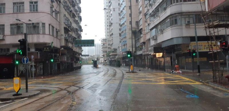筲箕灣道空無一人(圖片來源:讀者提供)