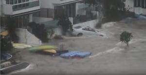 【山竹襲港】海水湧西貢匡湖居 私家車在水中漂浮