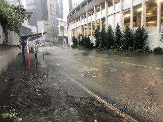 何文田馬路被水浸。(大紀元/梁珍)