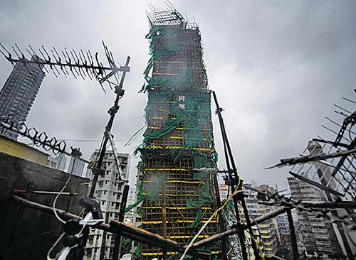大角咀尚璽地盤疑有天秤倒塌。(Getty Images)