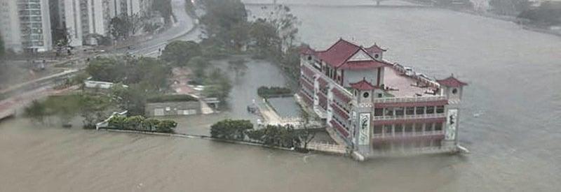 沙田畫舫ClubONE,被河水包圍。(沙田友Facebook圖片)