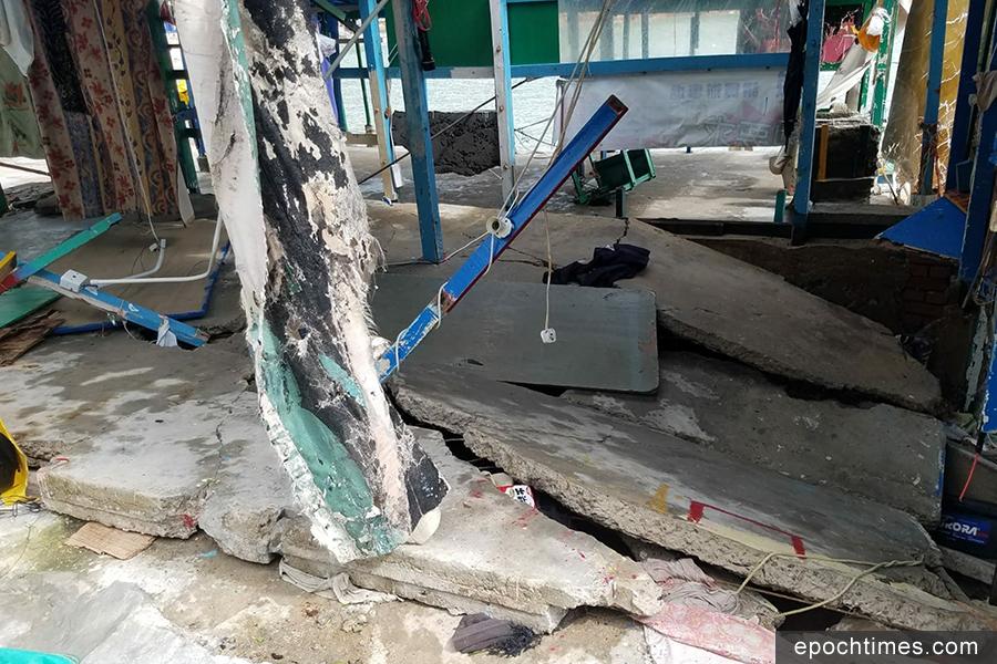 有房屋的地台折斷。(圖片來源:蒲台島原居民提供)