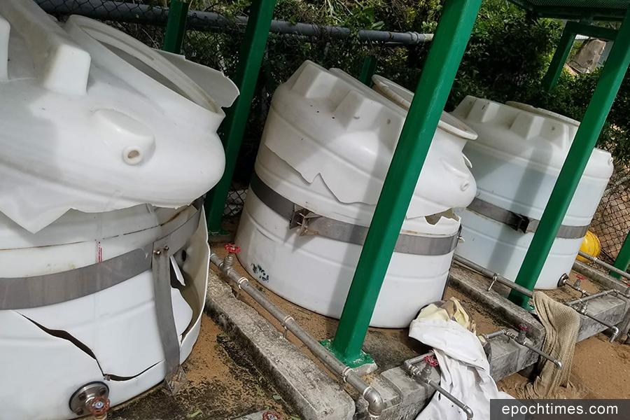 三個食水缸的其中兩個在風暴中破裂,無法使用。(圖片來源:蒲台島原居民提供)
