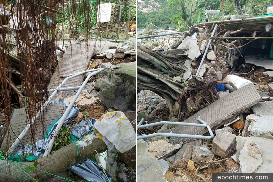 蒲台島的村內小徑斷裂,路面塌陷。(圖片來源:蒲台島原居民提供)