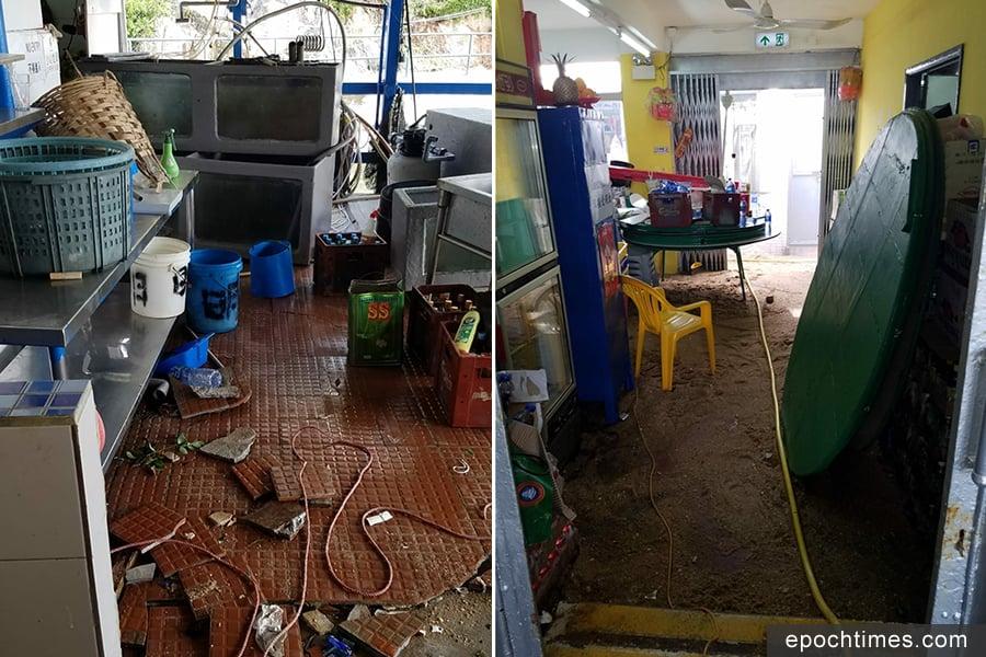 明記海鮮酒家遭到重創,廚房內的地磚破裂,泥沙滿地。(圖片來源:蒲台島原居民提供)