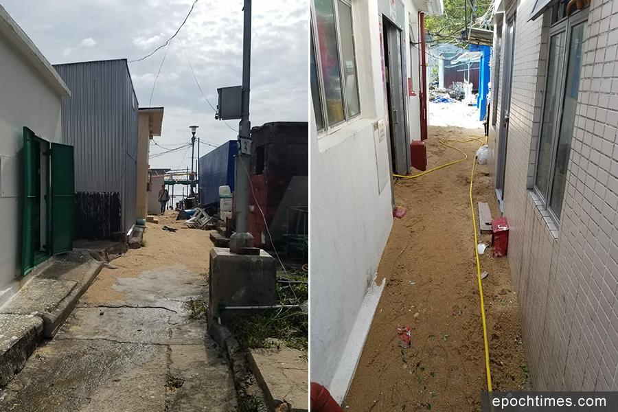 蒲台島村內通道佈滿了泥沙。(圖片來源:蒲台島原居民提供)
