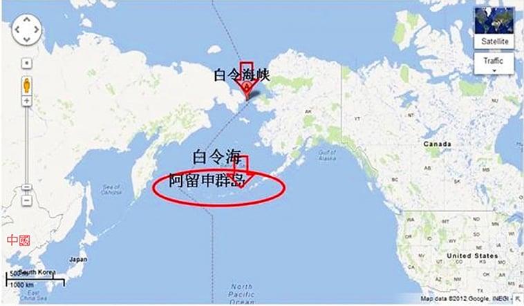 阿留申群島在地圖上,恰如連接亞洲與美洲的一條浮橋島!(Google地圖截圖)