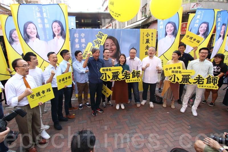 民主黨、公民黨、社民連、新民主同盟、議會陣線、工黨、民協和香港眾志等到場支持劉小麗。(蔡雯文/大紀元)