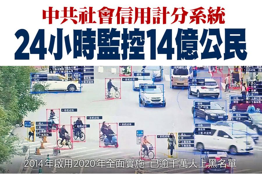中共社會信用計分系統 24小時監控14億公民