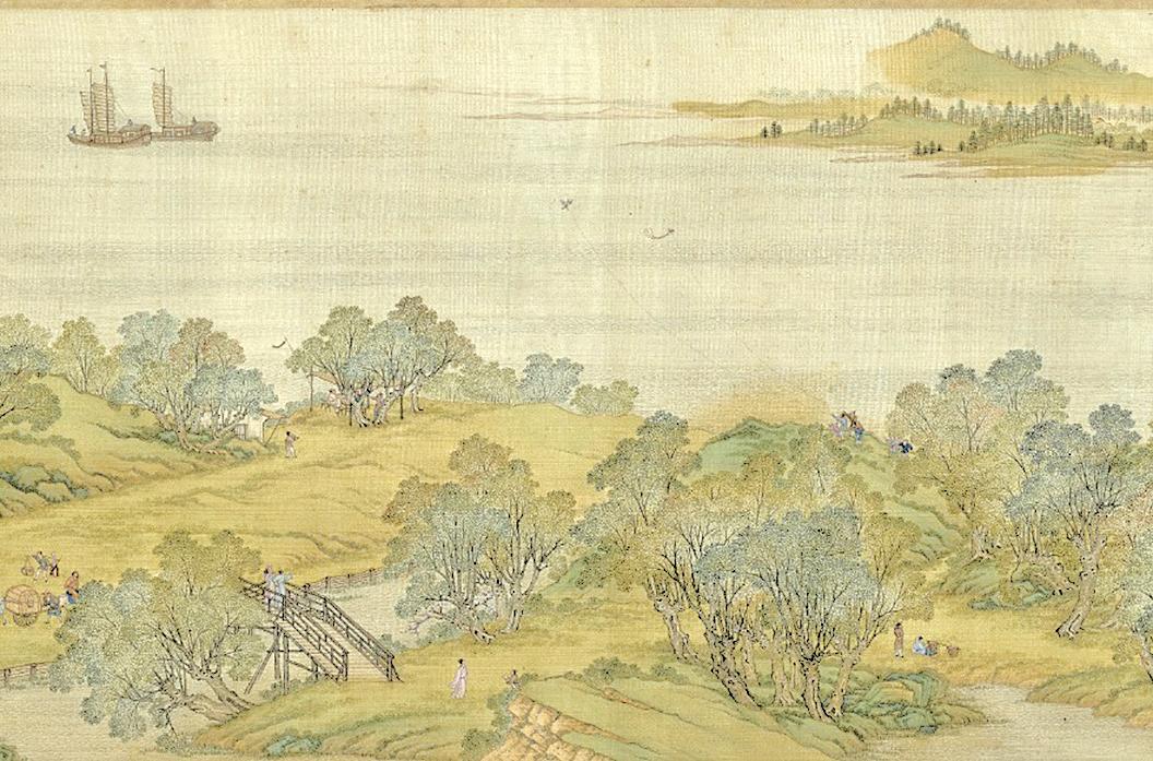 清院本〈清明上河圖〉(局部)。以河面為背景,兩個風箏在空中飛舞(公有領域)