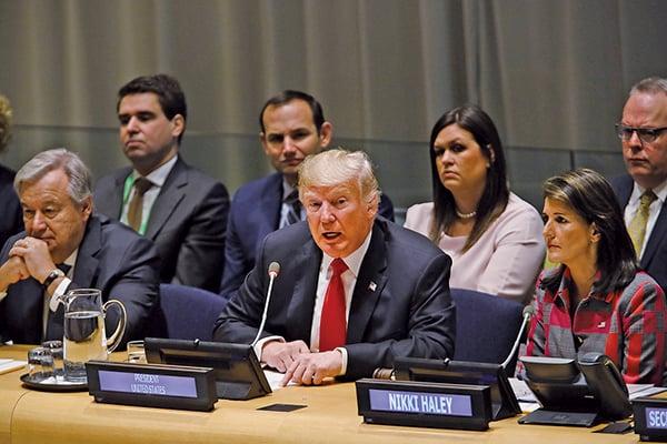 周一(9月24日),美國總統特朗普在聯合國大會上發表講話,呼籲全球對打擊世界毒品問題採取行動。(Getty Images)