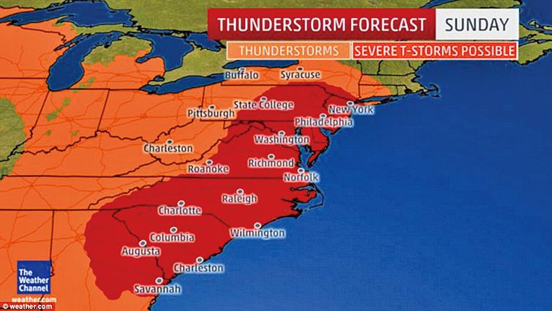 美東地區6月5日遭雷暴襲擊,1,700萬人受影響。另有熱帶風暴「科林」奔向佛州。(網絡圖片)