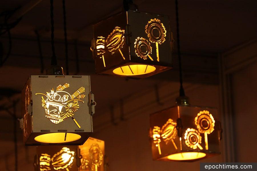 大坑「光影火龍夜」展覽中展出的火龍燈籠。(陳仲明/大紀元)