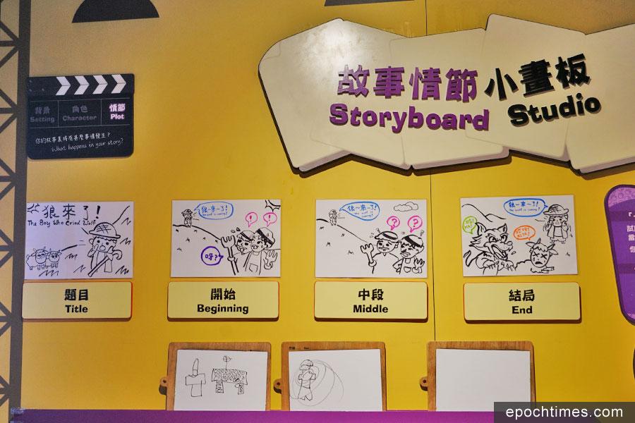 小朋友們可在「故事情節小畫板」中畫出自己的故事。(曾蓮/大紀元)