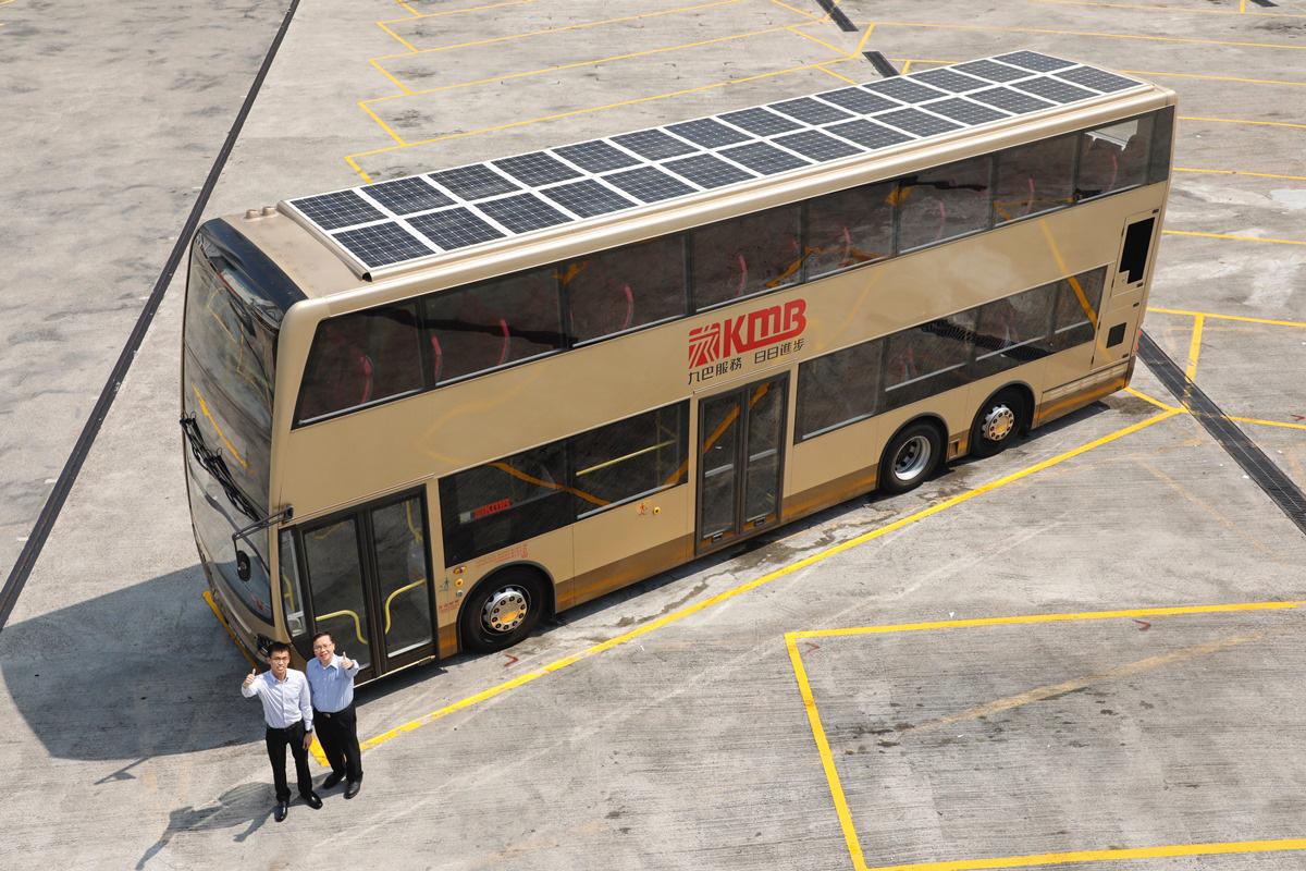 九巴研發出第二代太陽能發電裝置雙層巴士。(九巴提供)