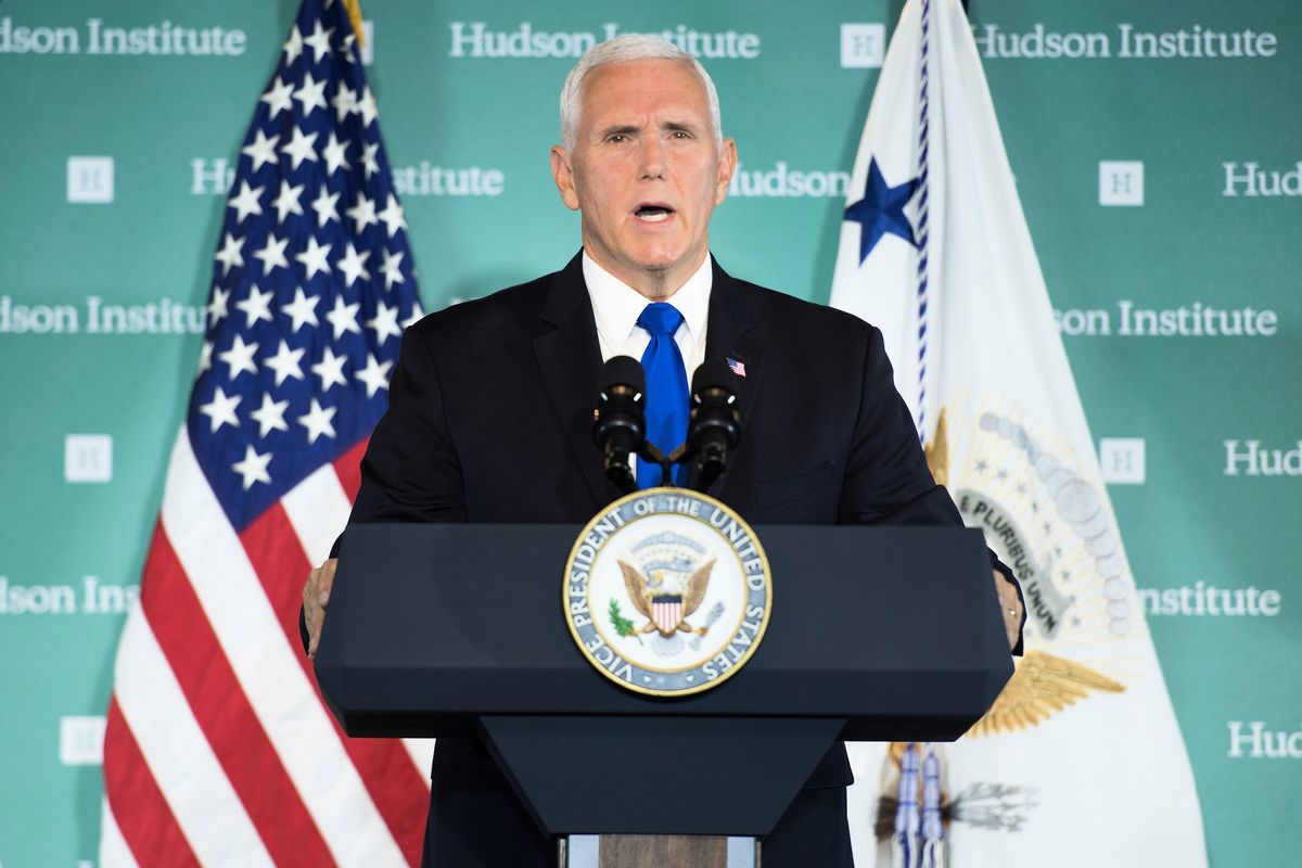 周四(10月4日),美國副總統彭斯在美國智囊「哈德遜研究所」(Hudson Institute)發表重要講話,披露中共的惡意影響活動,指責中共干涉美國內政,並對其發出了直言不諱的警告。(JIM WATSON/AFP/Getty Images)