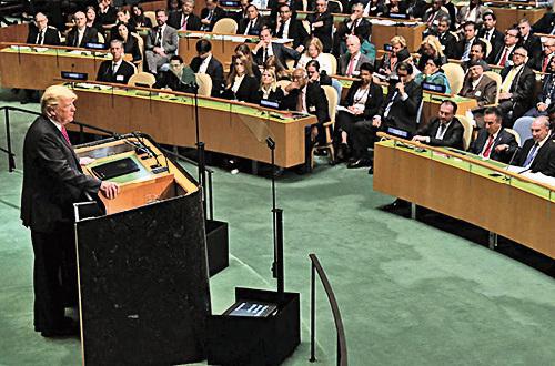 美國總統特朗普上周在聯合國大會的演說中,直指中國企圖干預美國中期選舉,因他是歷史上第一位敢在貿易上向中國挑戰的美國總統 。(Getty Images)