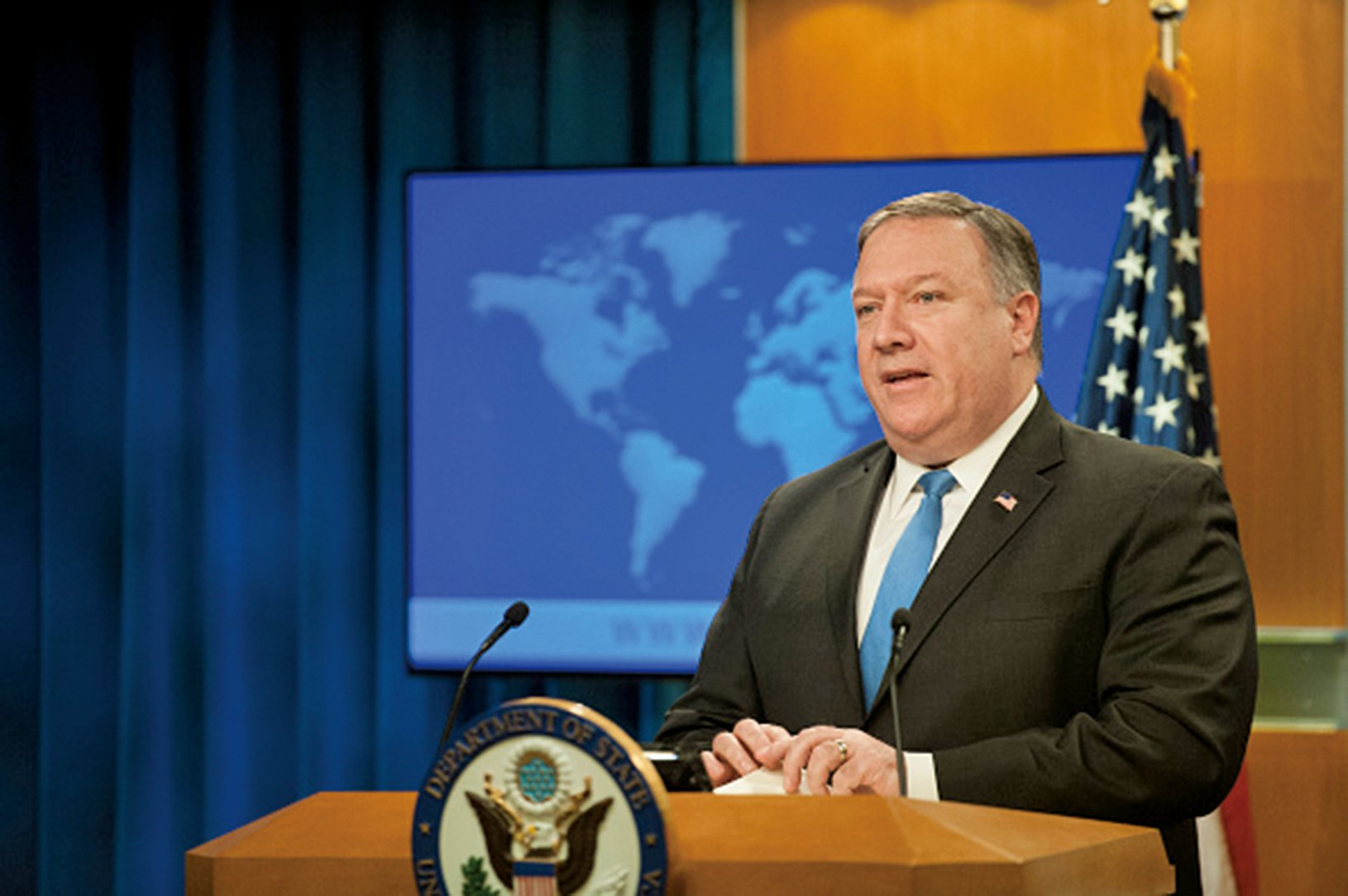 為回應國際法院要求美國放寬對伊朗制裁的判決,美國國務卿蓬佩奧宣佈退出與伊朗簽署的友好條約。(Getty Images)