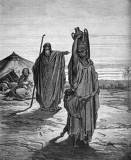 〈以實瑪利與其母遭驅逐〉,古斯塔.多雷(Gustave Doré),19世紀。(公有領域)