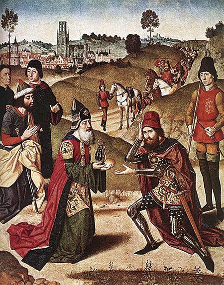 〈撒冷王麥基洗德迎接亞伯拉罕〉(Meeting of Abraham and Melchizedek),Dierick Bouts,15世紀。(公有領域)