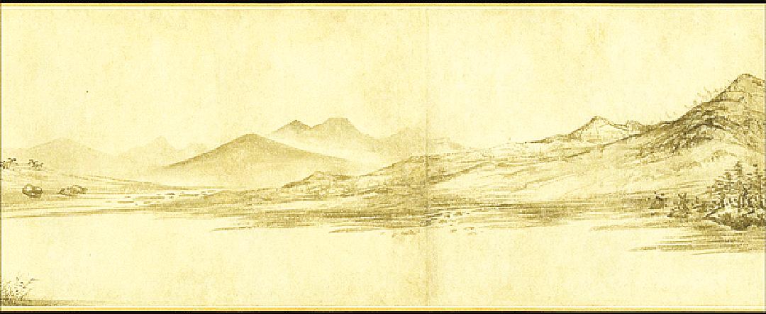 煙波浩渺,江山如畫。明‧王紱‧江山漁樂圖(圖片:wikimedia commons)