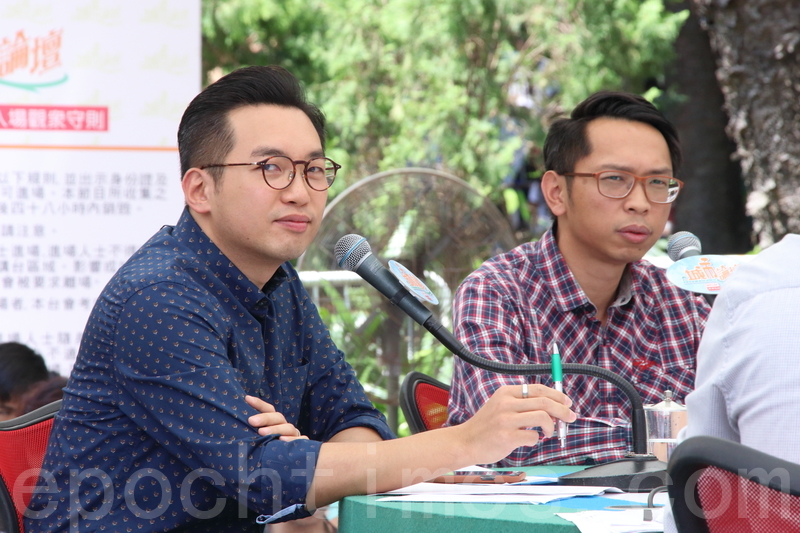 公民黨立法會議員楊岳橋(左)及工聯會立法會議員陸頌雄。(蔡雯文/大紀元)