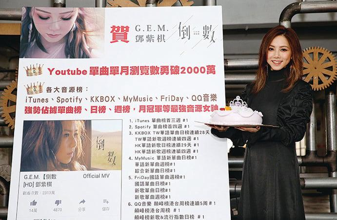 鄧紫棋新歌《倒數》大受歡迎,點閱率在全球突破1億次,唱片公司特別準備了特製的「紫后蛋糕」為她慶祝。(蜂鳥音樂提供