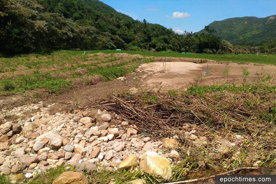 二澳農場的河堤被沖崩。(受訪者提供)