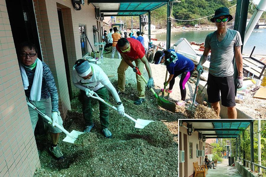 義工在鴨洲漁民村協助清理湧入村內的砂石。小圖為漁民村沿岸邊的原來面貌。(大圖:「山竹颱風 義工招募」FB群組;小圖:陳仲明/大紀元)
