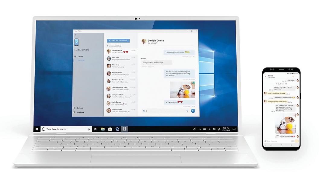 微軟宣布推出Windows 10的新功能,與Android設備互動更緊密,圖為Your Phone示意圖。(Microsoft)