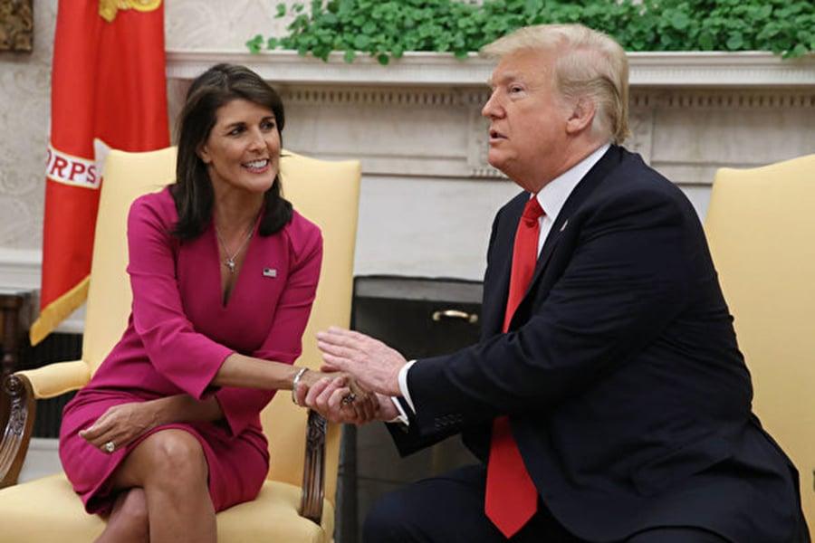 周二(10月9日), 黑利(Nikki Haley)女士辭去美國駐聯合國大使一職,特朗普總統接受了她的辭職。(Spencer Platt/Getty Images)