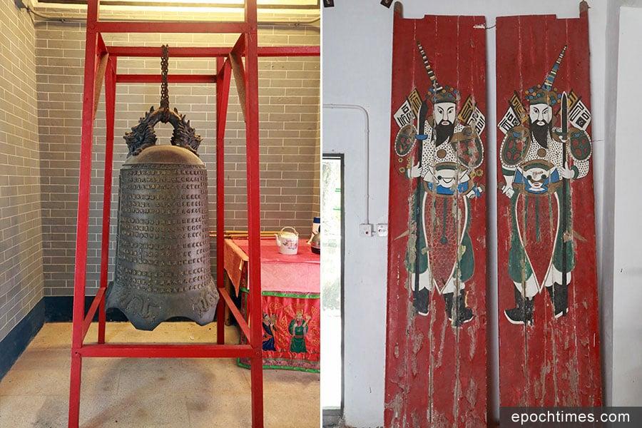 左:吉澳天后宮內擺放著一座刻有「乾隆二十八年」(1763年)的銅鐘;右:「鬼佬門神」的由來是源於一個饒有趣味的往事。(陳仲明/大紀元)